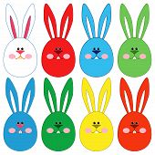 Eight Easter Rabbit Faces