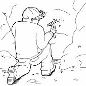 foto of specimens  - Outline cartoon of geologist with rock hammer collecting specimens - JPG