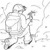 Outline Cartoon Of Geologist Working