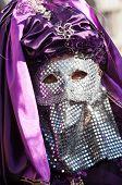 Venetian Mask With Paiette Chrome And Purple Veil.