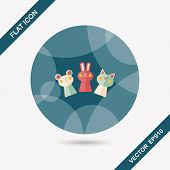 Hand Puppet Flat Icon With Long Shadow,eps10