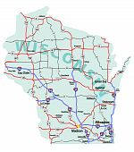Estado de Wisconsin interestatal mapa