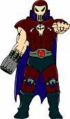 Skull Masked Warrior Pointing Cartoon