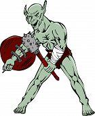 Orc Warrior Hold Club Shield Cartoon