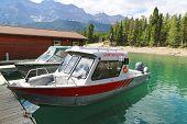 Charted fishing boats at Lake Minnewanka in Banff National Park