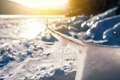 Winter Icicle On The Lake