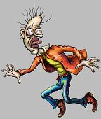 stock photo of grotesque  - Illustration a very frightened escaping man in hypertrophied grotesque cartoon style - JPG