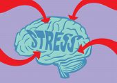 foto of arrow  - Big bold red arrows piercing into a human brain with text Stress on it - JPG