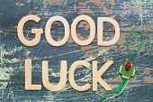 Good luck written with wooden letters on rustic wood and four-leaf clover