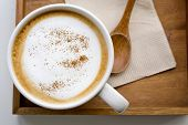 pic of latte  - Cappuccino or latte coffee in white cup - JPG