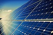 Solar Panels And Sky Background
