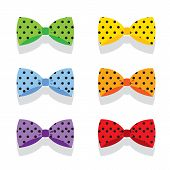 Set Of Colorful Polka Dot Bow Ties.