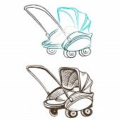 Separate Retro Stroller Made In The Thumbnail Style