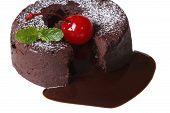 Chocolate Fondant With Cherries And Mint Closeup Isolated