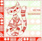 Vector Background Cat On A Knitted Ornament