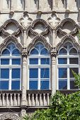 Windows Of Beautiful Old Art Nouveau Building In Budapest, Hungary