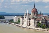 Gothic Parliament Building On The River In Budapest