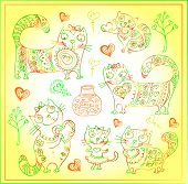 Vector Background With Different Cute Animals,objects And Hearts