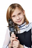 Girl Cameraman With Retro Camera