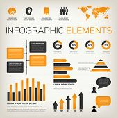 Orange Set Of Infographic Elements