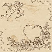 Vintage paper with adorable cupid