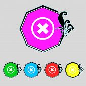 Cancel Icon. Flat Modeern Design Set Colourful Web Buttons. Vector