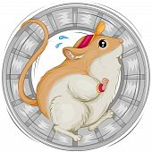 stock photo of gerbil  - An Illustration of a Gerbil Skittering with Clipping Path - JPG