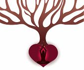 Woman Meditate Under The Big Tree In The Abstract Roots Of Heart Shape