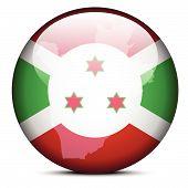 Map On Flag Button Of Republic Of Burundi