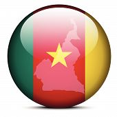 Map On Flag Button Of Republic Of Cameroon