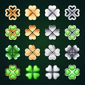 Vector Golden and Silver Four-leaf Clovers