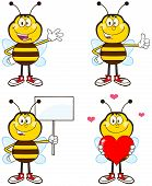 Bee Cartoon Mascot Character Different Interactive Poses 1. Collection Set