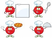 Red Tomato Cartoon Mascot Character Different Interactive Poses 1. Collection Set