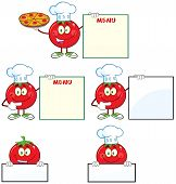 Red Tomato Cartoon Mascot Character Different Interactive Poses 2. Collection Set