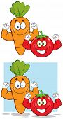 Carrot And Tomato Cartoon Mascot Characters Flexing. Collection Set