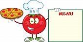 Tomato Chef Cartoon Mascot Character Holding A Pizza And Menu Board