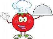 Tomato Chef Cartoon Mascot Character Holding A Cloche Platter