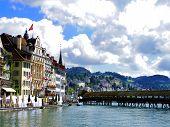 Lucerne Wood Bridge In Switzerland