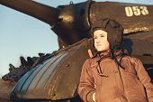 stock photo of panzer  - Portrait of young boy standing near by panzer - JPG
