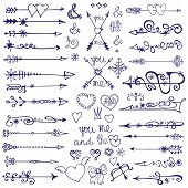 Doodle arrows,decor element,snowflakes.Winter love