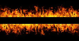 pic of dangerous  - Fire flames on black background with copy space - JPG