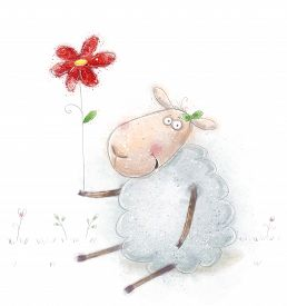 pic of valentine card  - Cute cartoon sheep  with the red flowers - JPG