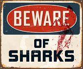 image of 50s 60s  -  Beware of sharks  - JPG