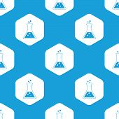 stock photo of conic  - Blue image of conical flask in white hexagon - JPG