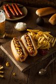 image of wiener dog  - Barbecue Grilled Hot Dog with Yellow Mustard - JPG