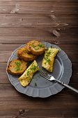 pic of french toast  - French omelette with chives fresh herbs and garlic toast - JPG