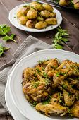 picture of roast chicken  - Roasted chicken wings with new potato  - JPG