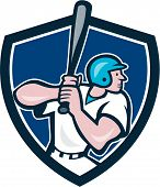 image of hitter  - Illustration of an american baseball player batter hitter batting with bat viewed from side done in cartoon style set inside shield crest - JPG