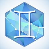 pic of gemini  - Zodiac sign and constellation Gemini into hexagonal frames on low poly background - JPG