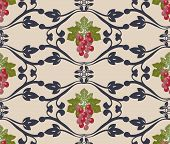 pic of grape  - Vector Decorativepattern with grapes - JPG